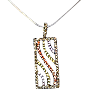 Lovely 14k Gold 2.64 Carats Precious Stones & Diamond Pendant