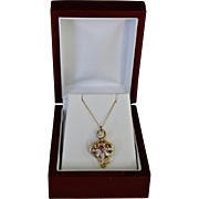 French Victorian 14K Gold Fleur de Lis Heart Pendant Necklace