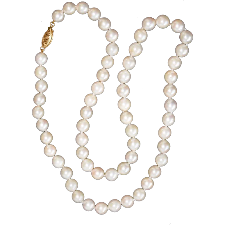 "Vintage 18"" Cultured Pearl Necklace Strand 14K Clasp"