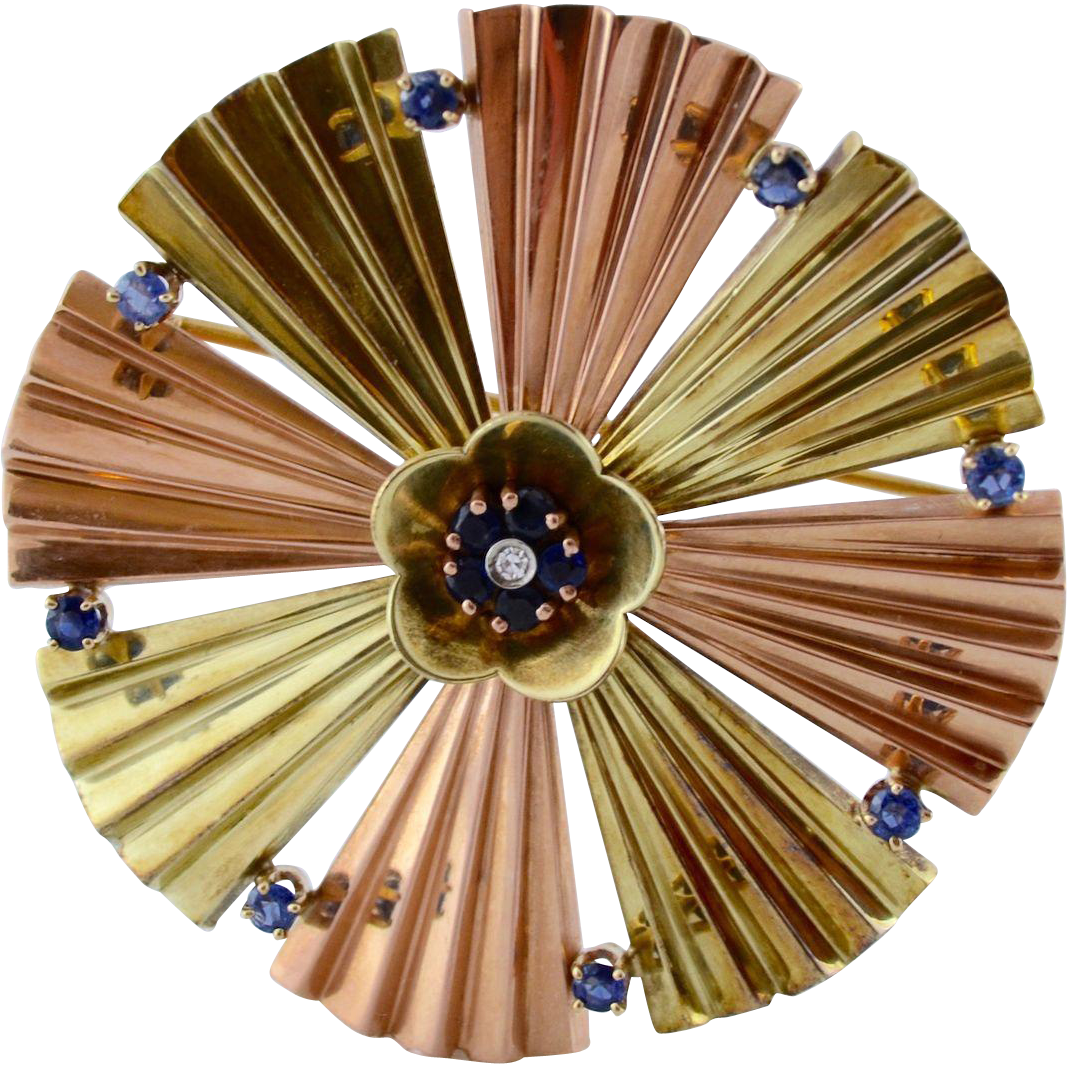 Art Deco 14K Gold Sapphire Pinwheel Fan Brooch