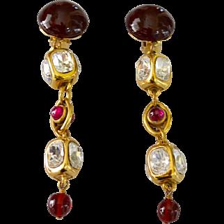 Vintage CHANEL 12K Gold Plate Gripoix Glass Chandelier Earrings