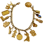 Estate Offering Travel Charm Bracelet 14kt, 18kt, 24kt Gold