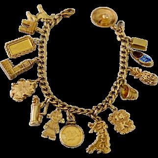Estate Offering Travel Charm Bracelet 14kt, 18kt, 24kt Gold