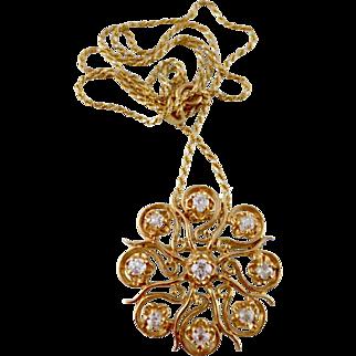 Victorian Style 0.96 Carat Old Mine Cut Diamond 14kt Gold Pendant / Brooch