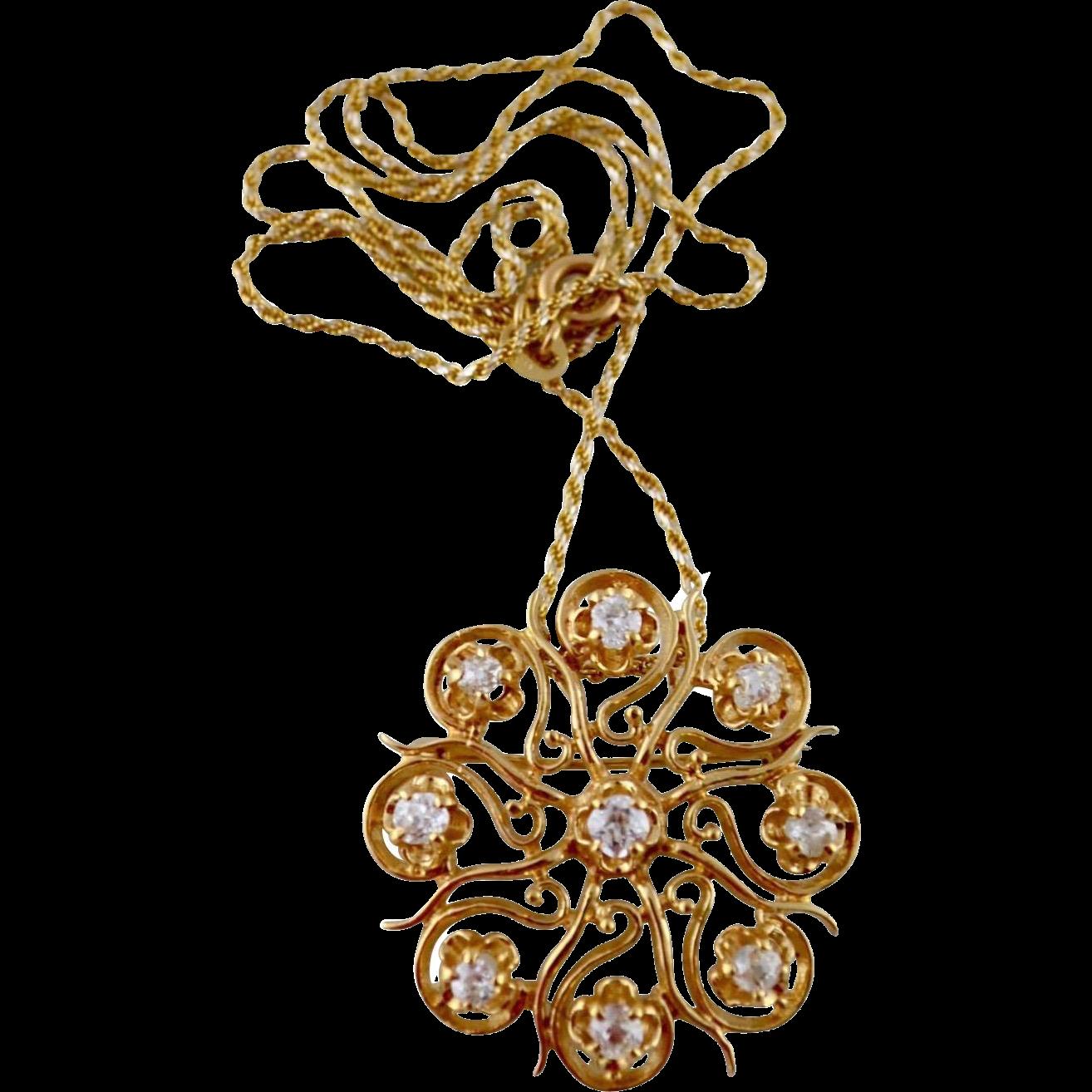 Victorian Style 0.96 Carat Old Mine Cut Diamond 14kt Gold Pendant / Brooch 50% Off