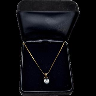 Estate 14K gold Cultured Tahitian Pearl 10mm Pendant Drop Necklace
