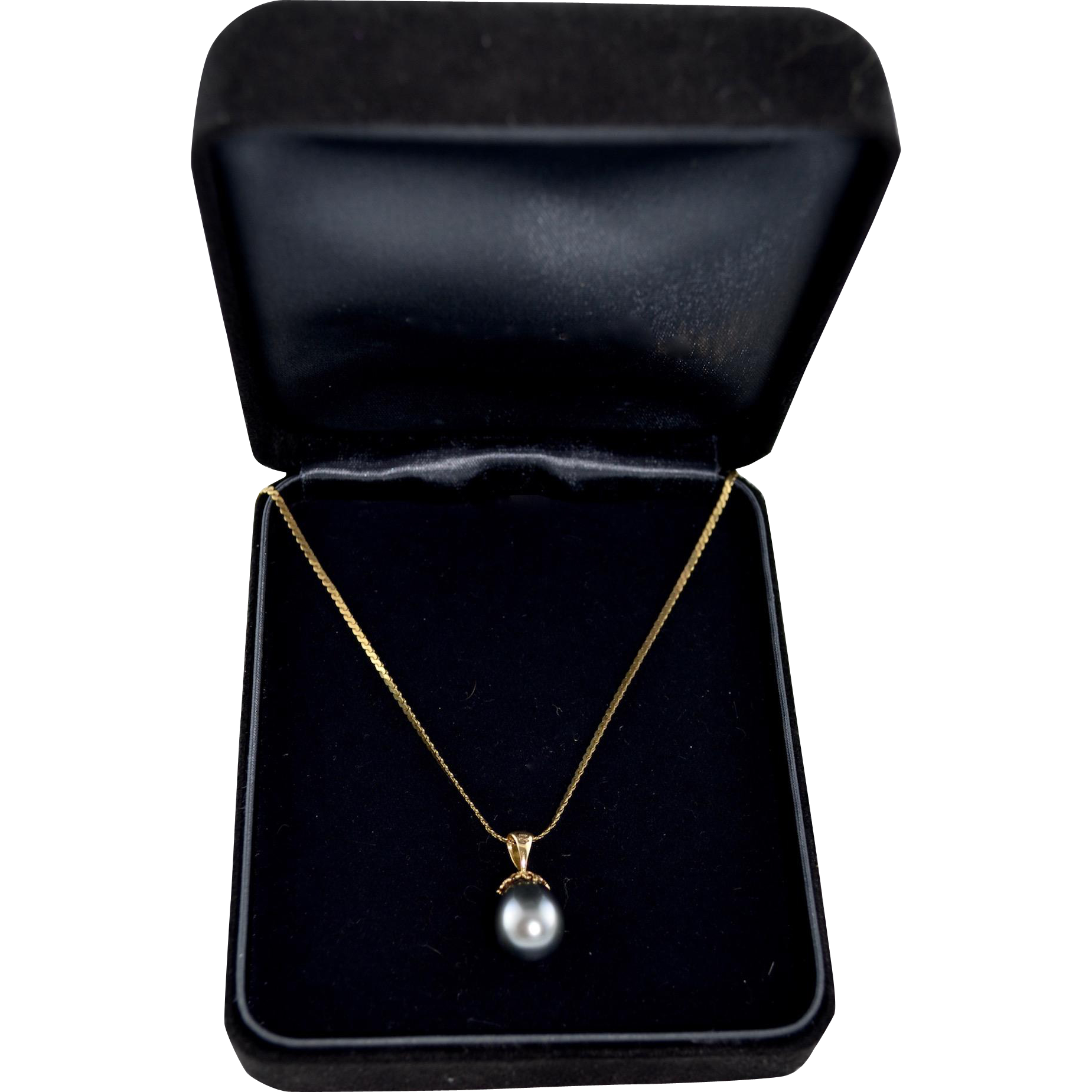 Estate 14K gold Cultured Tahitian Pearl 10mm Pendant Drop Necklace 50% Off