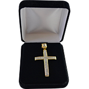 Large 1.35 Carat Diamond Pave Cross set in 10K Yellow / Sterling Setting 50% Off
