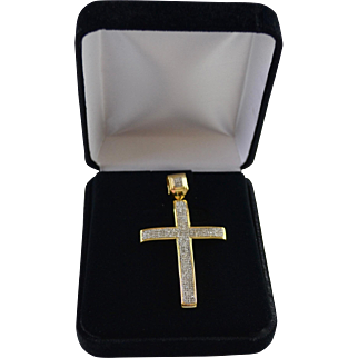 Large 1.35 Carat Diamond Pave Cross set in 10K Yellow / Sterling Setting