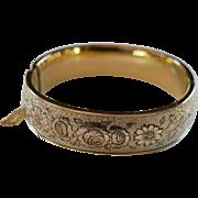 Beautiful Taille d'Epergne 10 K Gold Filled Bangle Bracelet