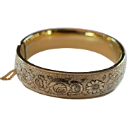 Beautiful Taille d'Epergne 10 K Gold Filled Bangle Bracelet