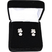 Elegant Ladies 18K Gold White Topaz Drop Earrings