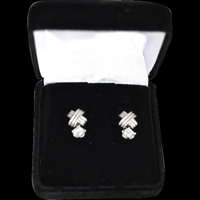 Elegant Ladies 18K Gold White Topaz Drop Earrings