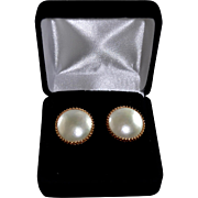 Estate Custom 14KT Gold Large Natural Mabe Pearl Pierced Earrings