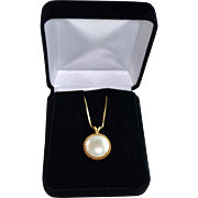 Estate Custom 14K Gold Large Mabe Pearl Pendant With Gold Chain