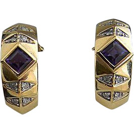 Brazilian Amethyst Diamond 14kt Gold Hoop Earrings