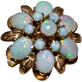 Retro 18kt Gold Fiery Opal Princess Harem Ring