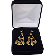 14K Gold Modernist Gypsy Dangle Earrings Italy