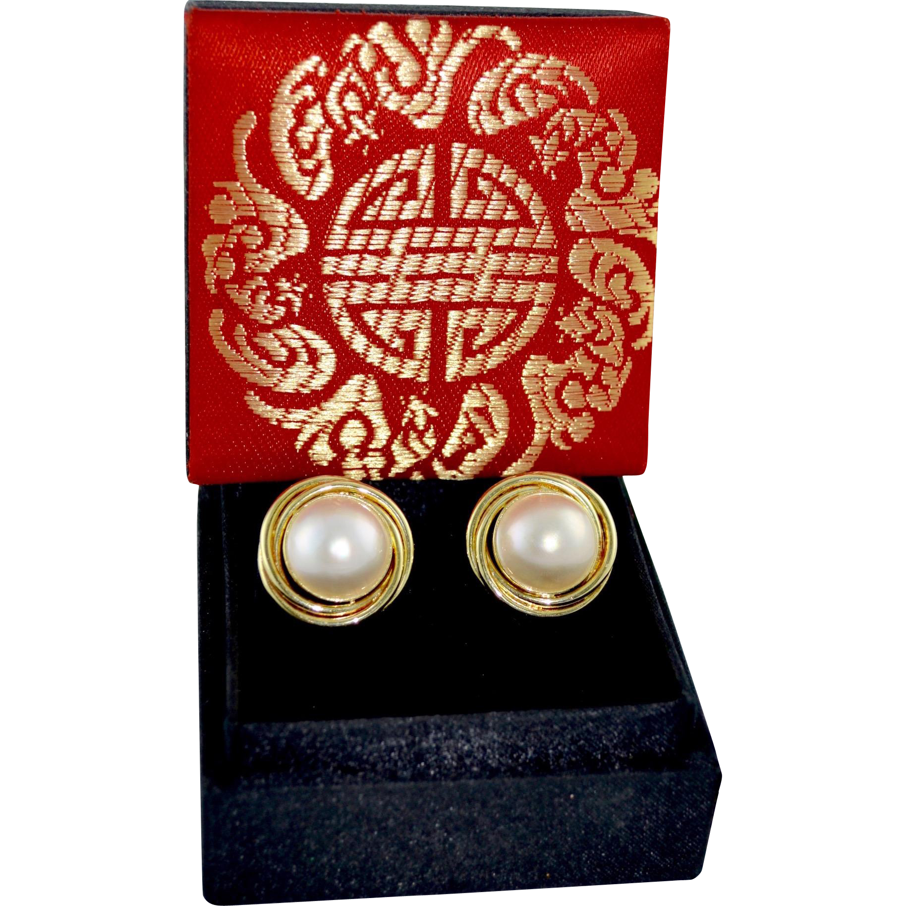 Ladies 14K Gold Cultured Mabe Pearl Omega Back Earrings