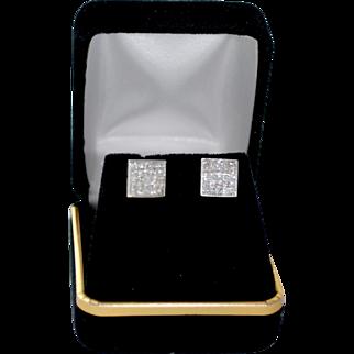 14K Gold 1.50 Carat Princess Cut Diamond Stud Earrings