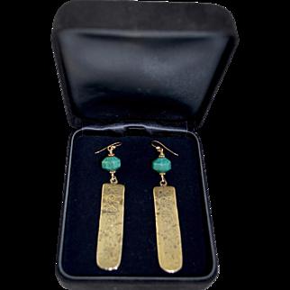 Asian 14K Gold Filled Turquoise / Brass Embossed Drop Pendant Earrings