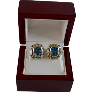 Albion Blue Topaz 14K Gold & Sterling Silver Yurman Earrings