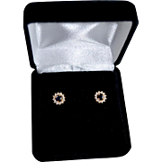 Ladies 14K Gold Sapphire Diamond Halo Stud Pierced Earrings
