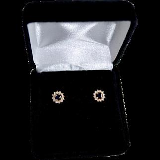 Ladies 14K Gold Sapphire Diamond Halo Stud Pierced Earrings