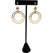 Custom Large 14K Gold Double Halo Hoop Pierced Earrings