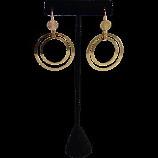 Custom Large 14K Gold Double Halo Hoop Pierced Earrings
