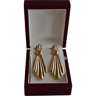 Stunning 14K Gold Decorative Jabot Style Dangle Pierced Earrings