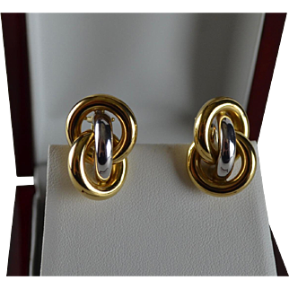 14K Italian Two Tone Gold Interlocking Love Knot Earrings 50% Off