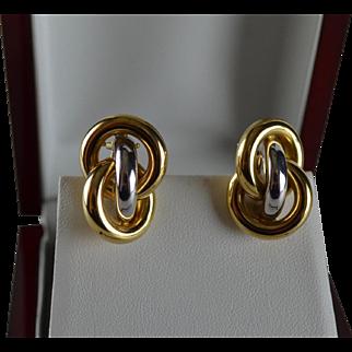 14K Italian White Yellow Gold Interlocking Love Knot Earrings
