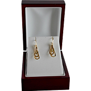 Designer 14K Yellow Gold Triple Drop Sculptural Pierced Earrings