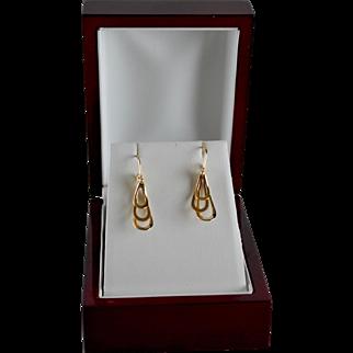 Designer 14K Yellow Gold Triple Drop Sculptural Pierced Earrings