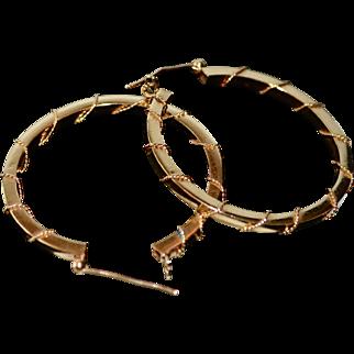 Large 14K Gold Ornate Textured Polished Hoop Earrings