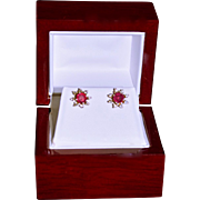 14K Gold Brilliant Round Cut Natural Ruby Stud Earrings with Diamond Jackets