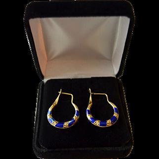 Decorative Revival Style French Enamel 15K gold Wire Hoop Earrings