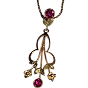 Classic Art Nouveau 15K Gold Yellow Rose Ruby Pendant ONLY