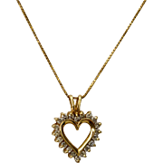 Romantic 14K Gold Diamond Heart Pendant Necklace