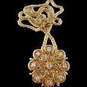 Estate Mine Cut Diamond Victorian Style Floral Brooch Pendant Necklace