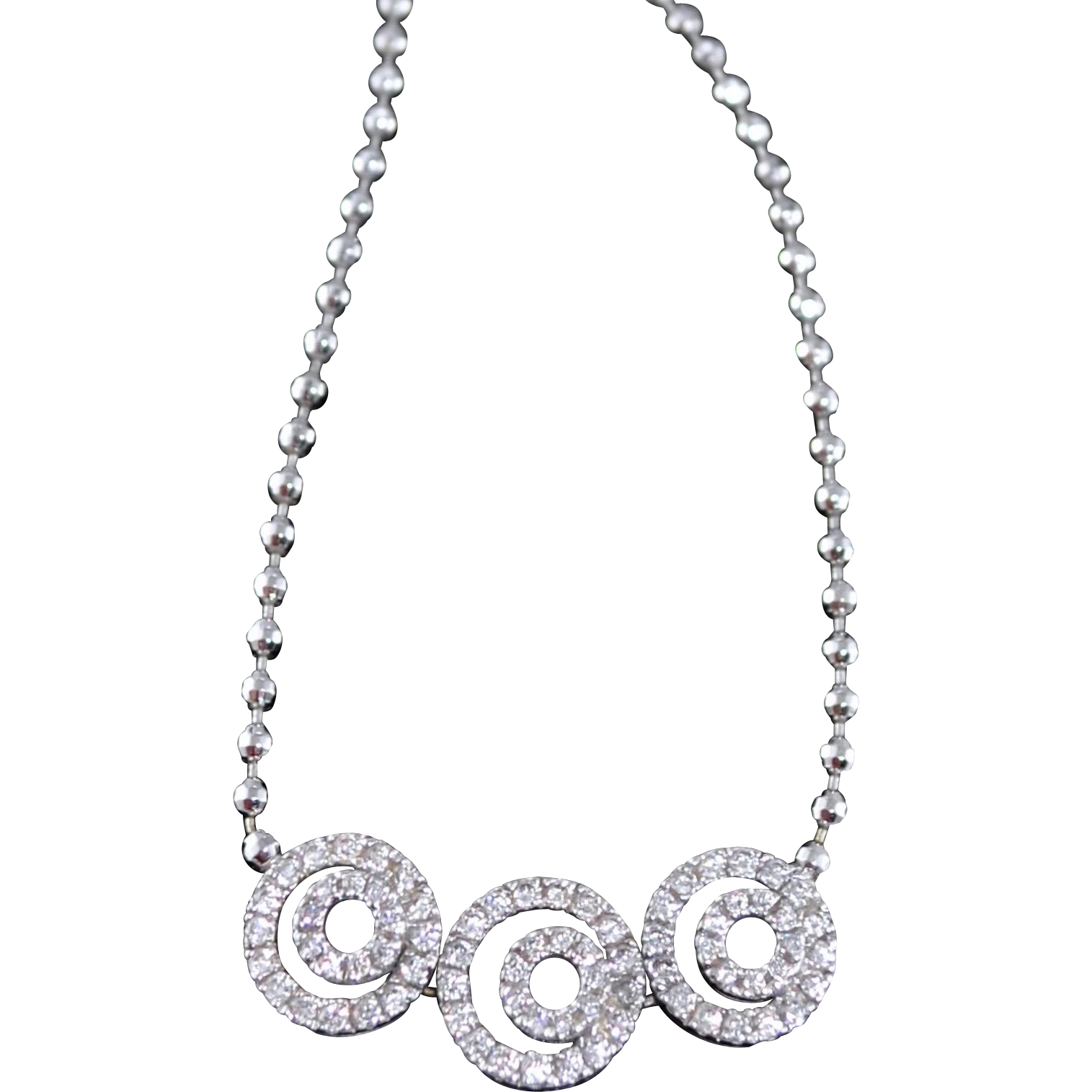Art Deco Style 18K White Gold Diamond Trilogy Necklace