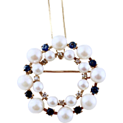Estate  Diamonds, Sapphires & Cultured Pearl 14k Gold Eternity Brooch / Pendant