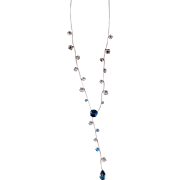 14K Gold Art Nouveau Style Blue White Topaz Lariat Necklace