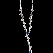 14K Gold Art Nouveau Style Blue White Topaz Lariat Necklace