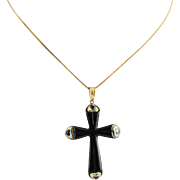 Ladies Modern 14K Gold Topaz and Onyx Cross