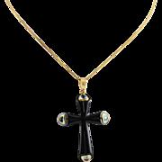 Ladies Modern 14K Gold Topaz and Onyx Cross