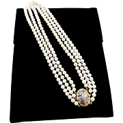 Multi-Strand 18K Gold Cultured Pearl Necklace Decorative Clasp 50% Off