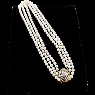 Multi-Strand 18K Gold Cultured Pearl Necklace Decorative Clasp