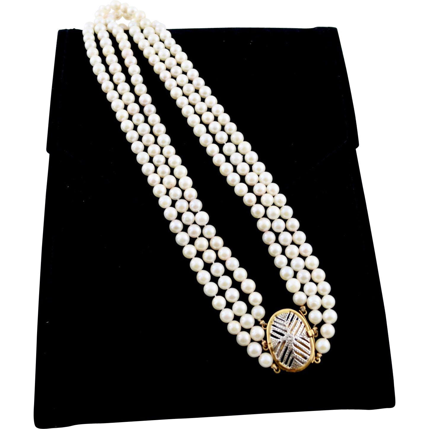 Multi-Strand 18K Gold Cultured Pearl Necklace Decorative Clasp